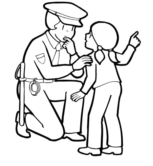 620x674 Police Coloring Pages With A Little Girl