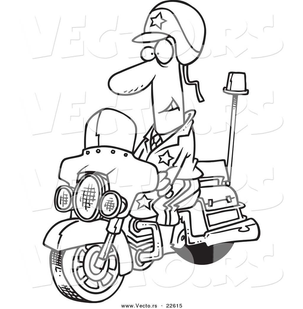 1024x1044 Motorcycle Police Officer Controlling Speed Traffic Coloring Page