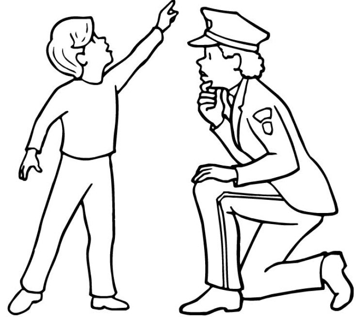 734x655 Police Coloring Pages Helping Kids