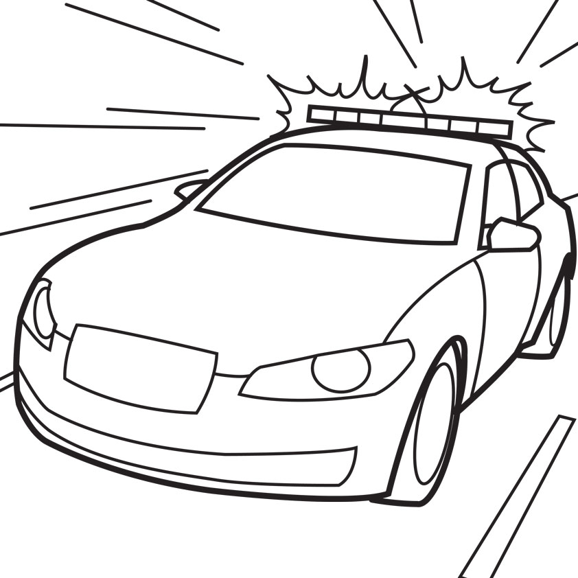 842x842 Police Car Coloring Pages