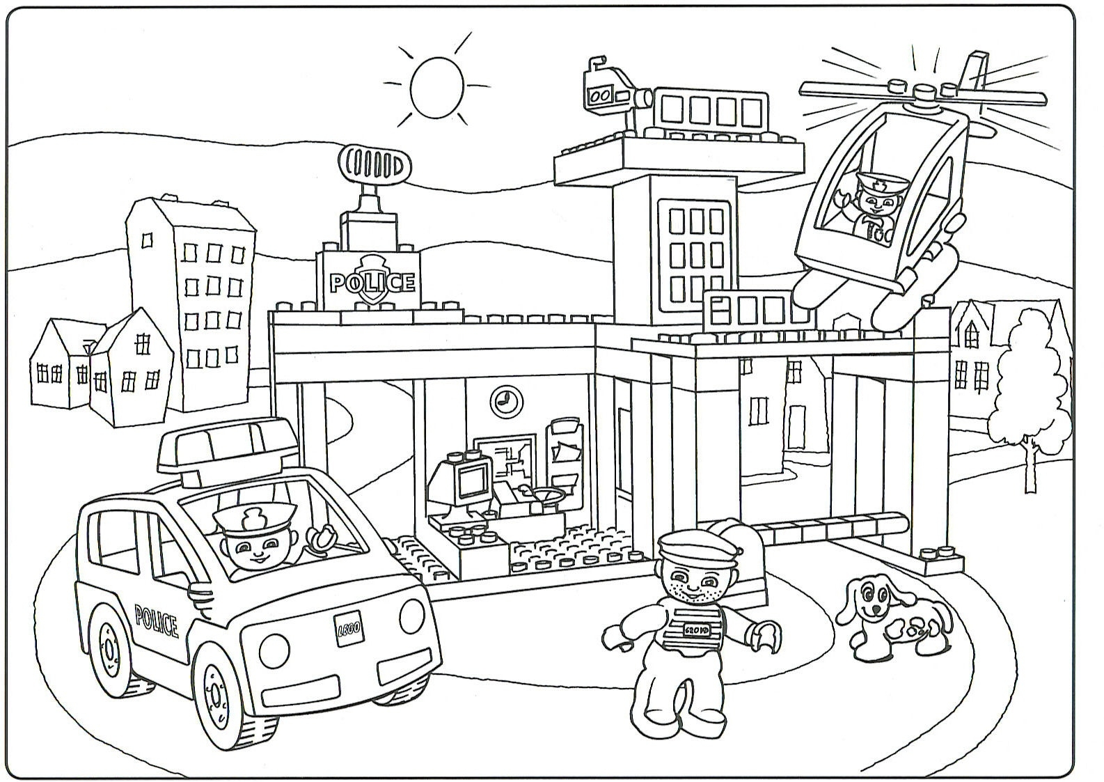 1586x1123 Lego City Police Coloring Pages Gallery Coloring For Kids