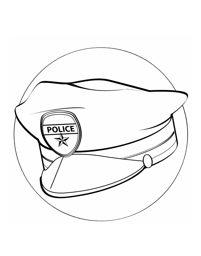 784x999 Police Hat Coloring Page For Labor Day