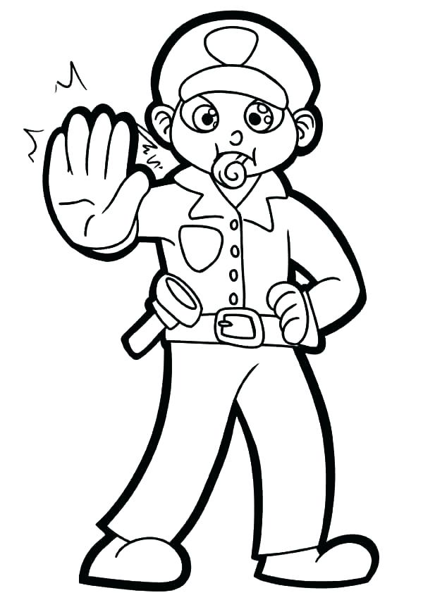 600x852 Police Hat Coloring Page Policeman Coloring Page Policeman