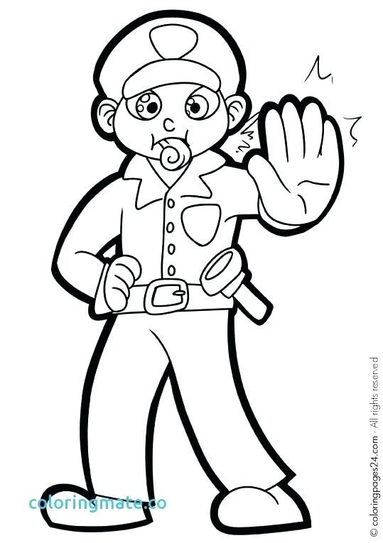 539x765 Police Officer Coloring Pages Hat Page Thank On Impressive Police