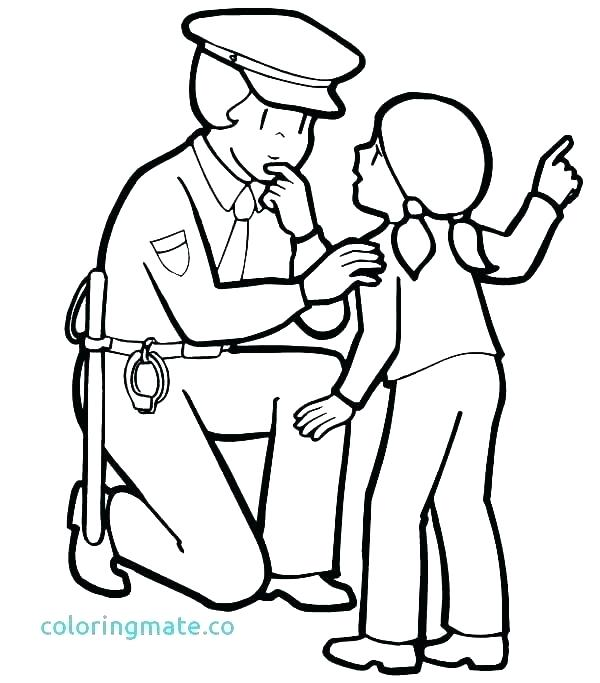 600x683 Coloring Pages Police Police Hat Coloring Page Policeman Coloring