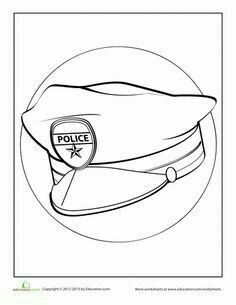 236x305 Kindergarten Printable Hat Templates Coloring Pages, Police