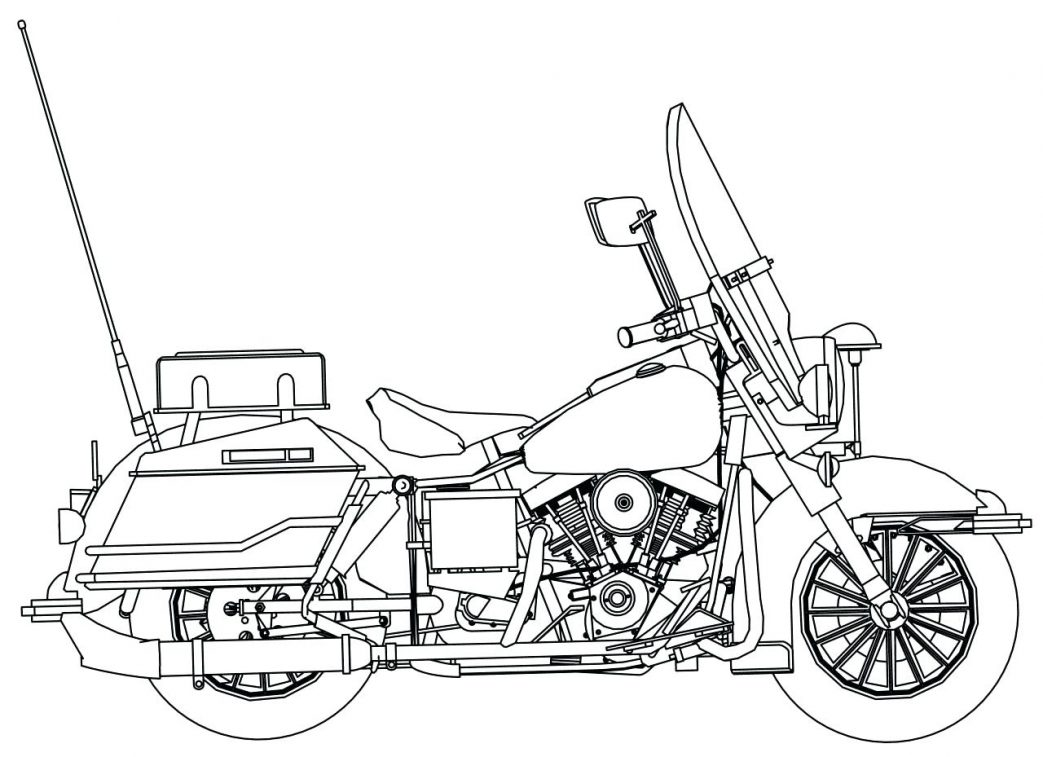 1043x757 Coloring Pages Flowers In A Vase Police Motorcycle Side Page