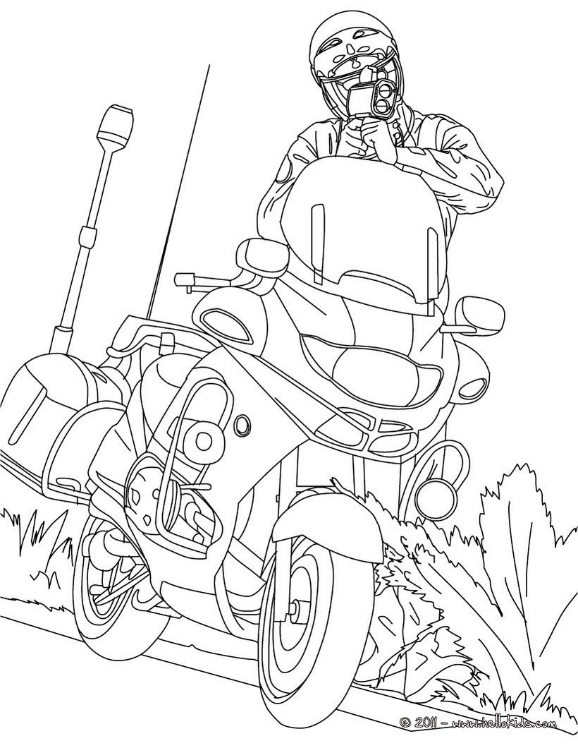 820x1060 Motorcycle Police Officer Controlling Speed Traffic Coloring Page