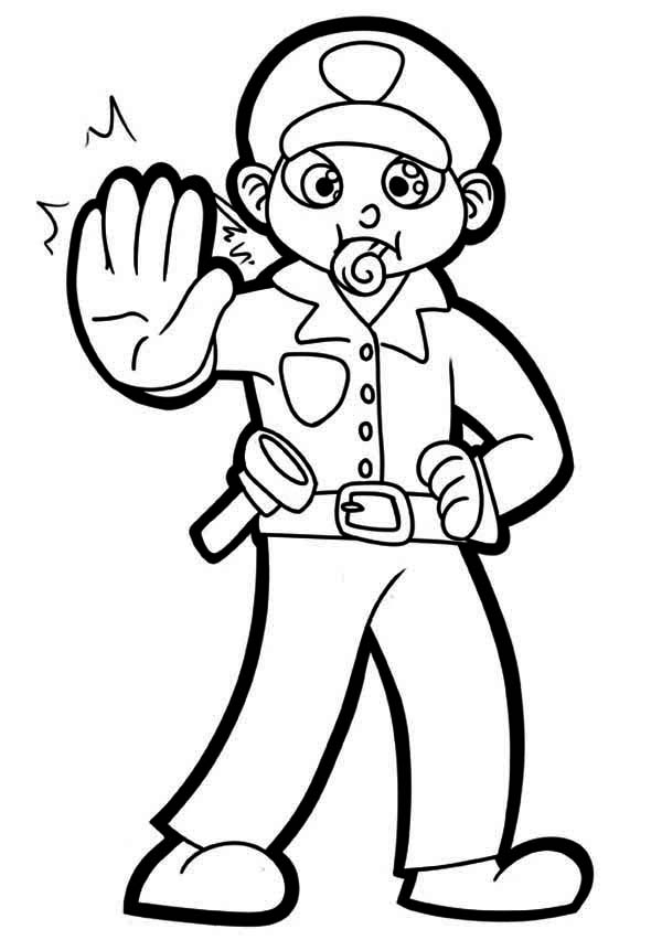 600x852 Police Officer With Whistle Coloring Page