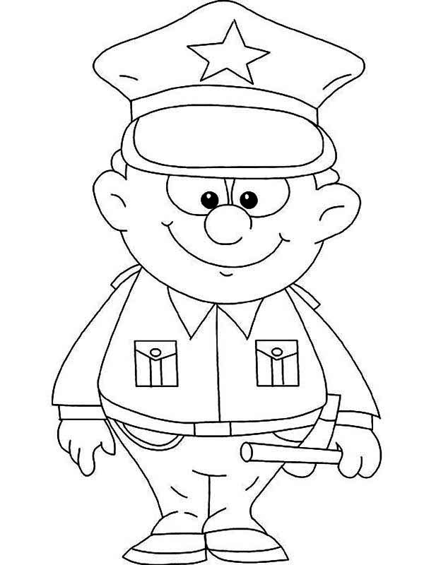 600x800 Cute Little Police Officer Picture Coloring Page