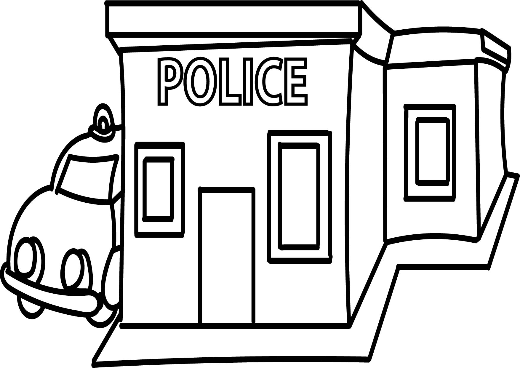 1755x1242 Library Building Black And White Police Station Coloring Page