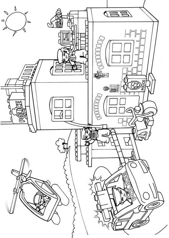 569x800 Police Station Coloring Sheet