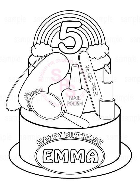 570x738 Personalized Printable Rainbow Spa Party Cake Favor Childrens