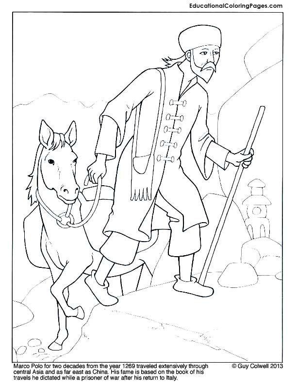 612x792 Marco Polo Coloring Page Mystery Of History Volume Lesson