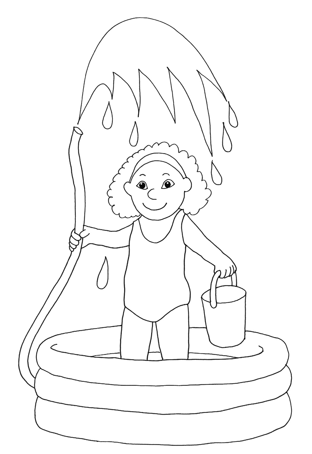 1004x1459 Summer Coloring Pages Girl Water Pool Inside