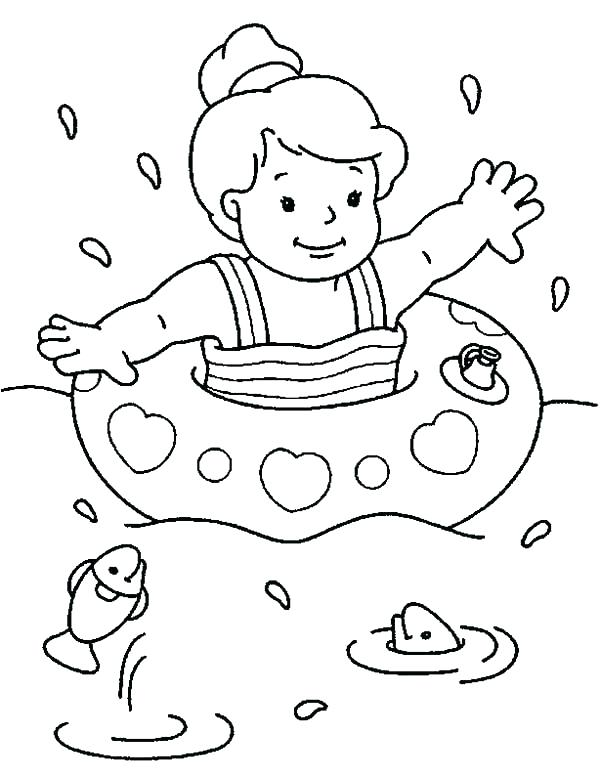 600x776 Swimming Coloring Pages Swimming Coloring Pages Little Swimmer