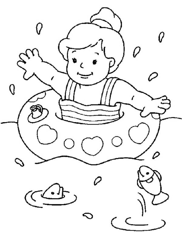 600x775 Vibrant Design Swimming Coloring Page Pages To Print Boy Pool Girl
