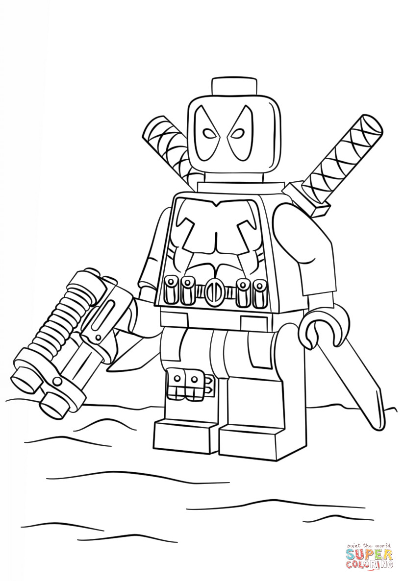 824x1186 Lego Dead Pool Coloring Page Tearing Deadpool Pages