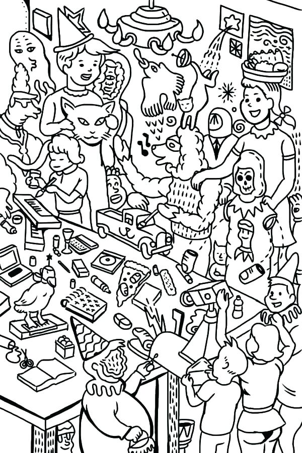 600x901 Party Coloring Pages Birthday Party Coloring Page Birthday Party