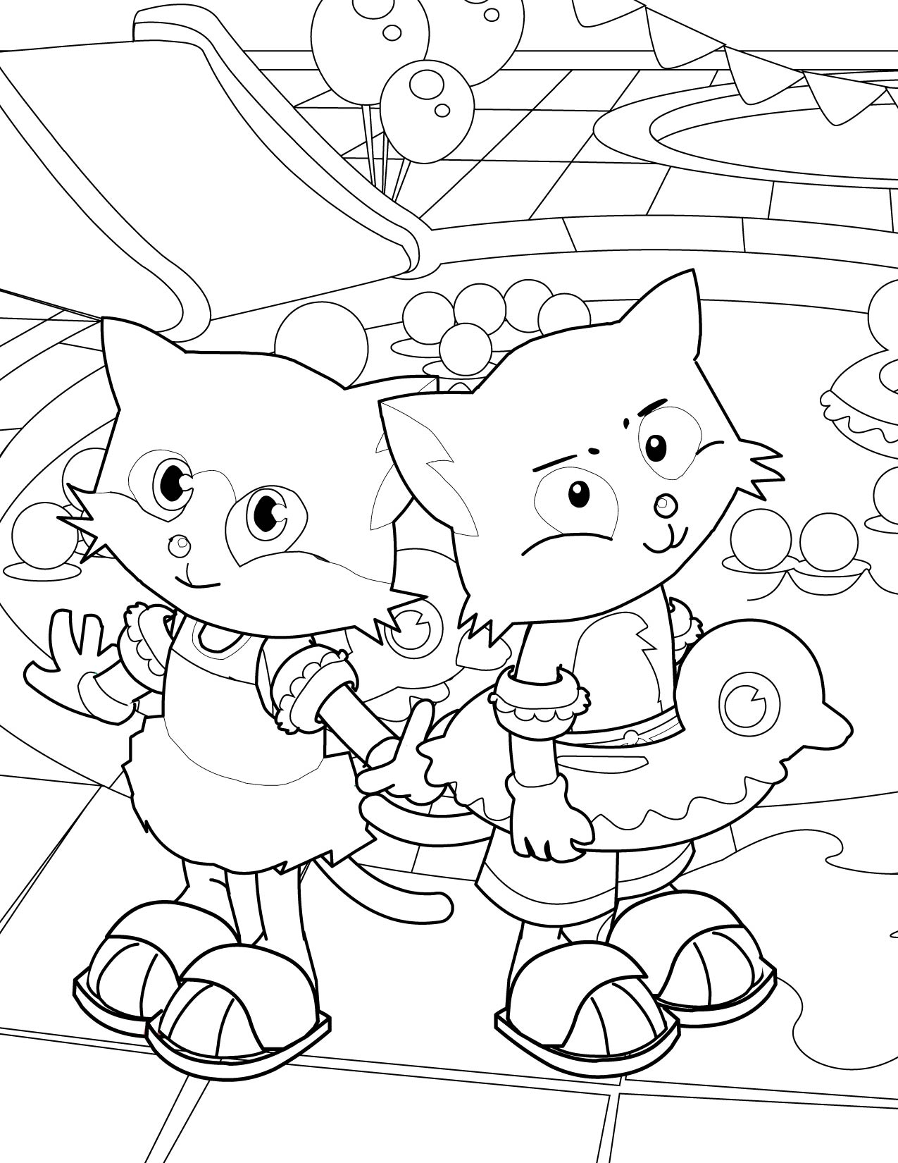 1275x1650 Pool Party Coloring Page
