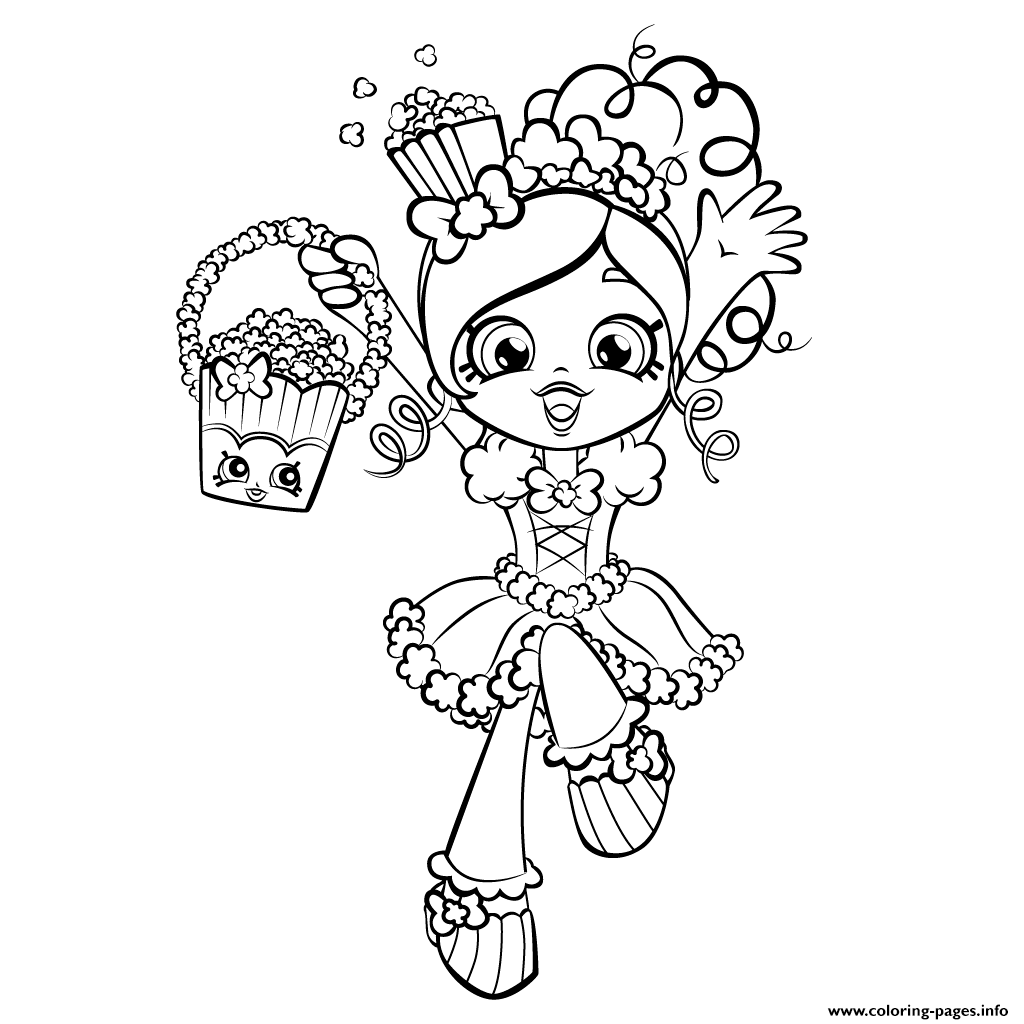 1024x1024 Happy Shopkins Shoppies With Popcorn Coloring Pages Printable