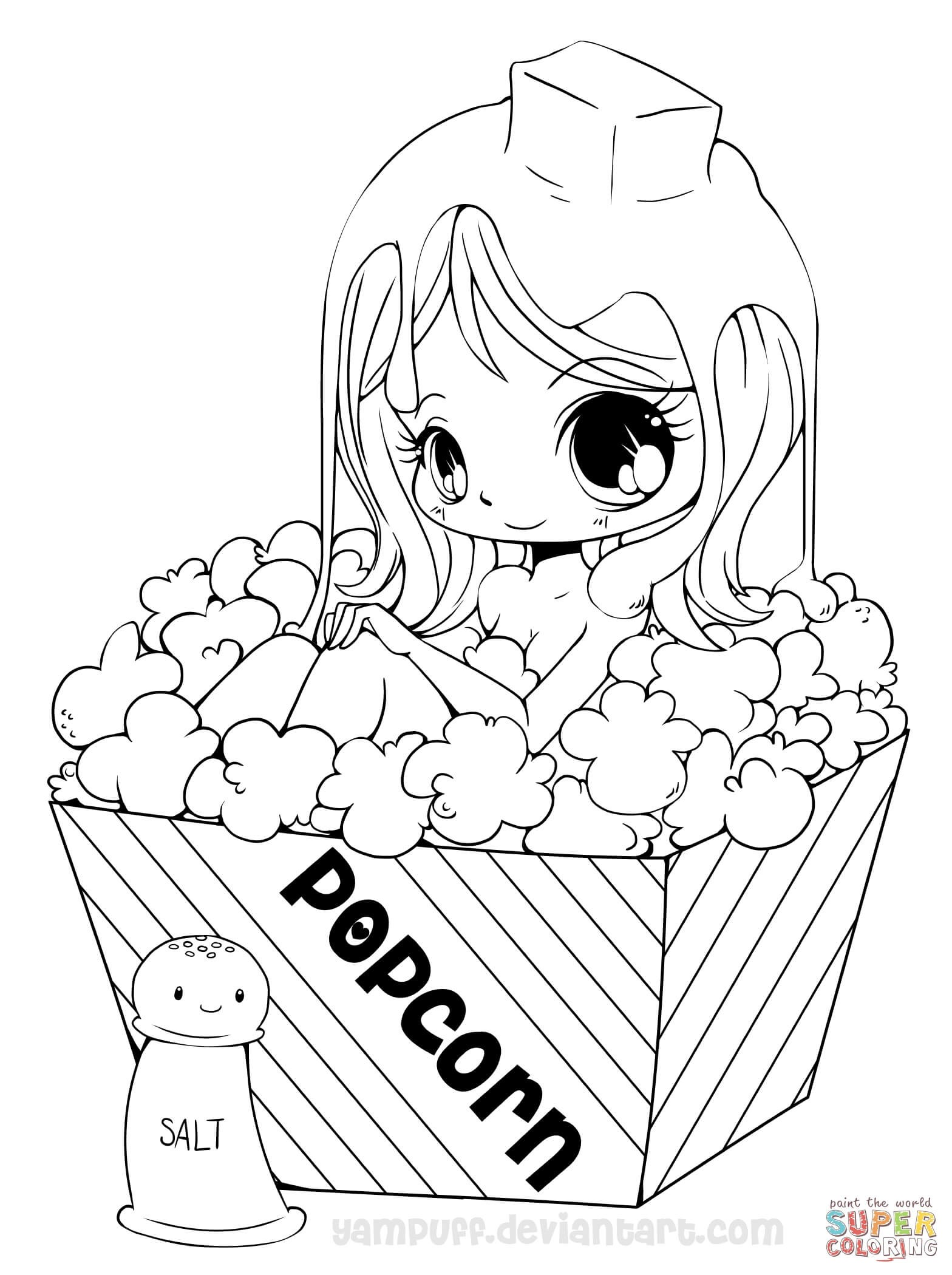 1568x2100 Popcorn Coloring Pages New Chibi Popcorn Girl Coloring Page