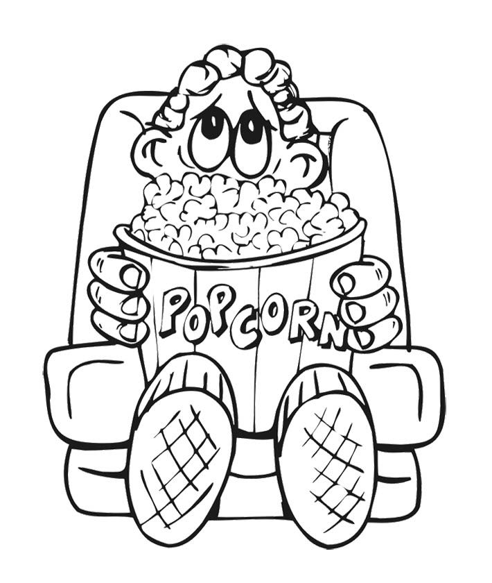 710x840 The Boy And Big Popcorn Coloring Page For Kids Kids Coloring