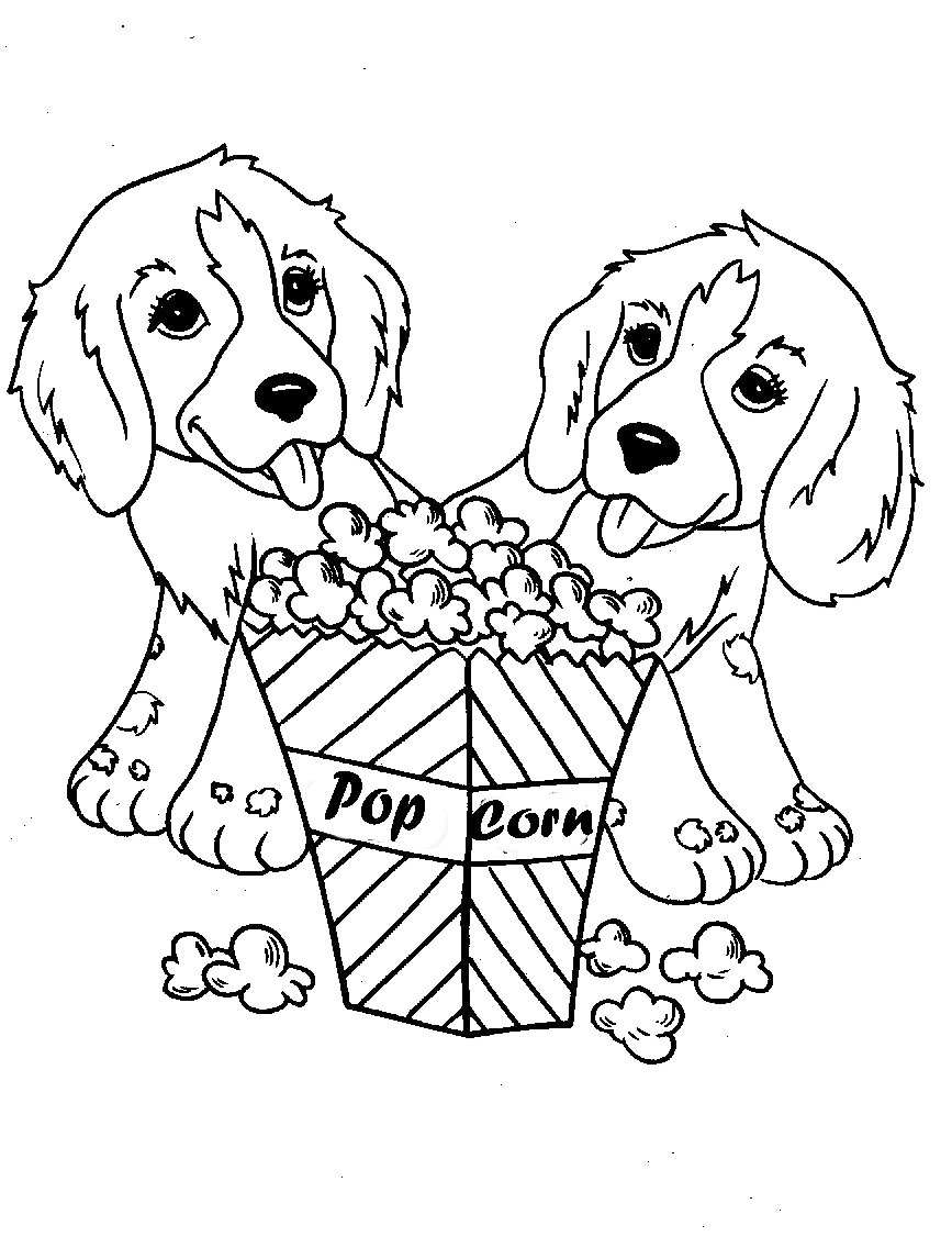 867x1126 Two Dog Eat Popcorn Coloring Pages Coloring Pictures