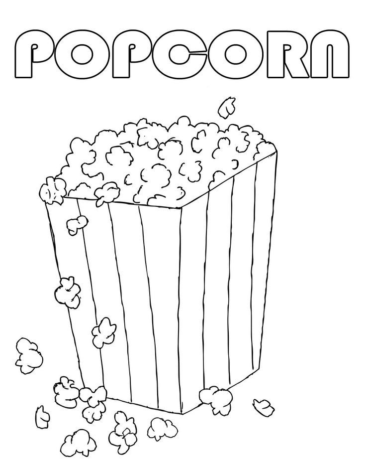 736x953 Popcorn Coloring Pages For Kids It's National Popcorn Popping