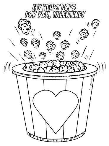 369x492 My Heart Pops For You Valentine Coloring Page Popcorn Valentine