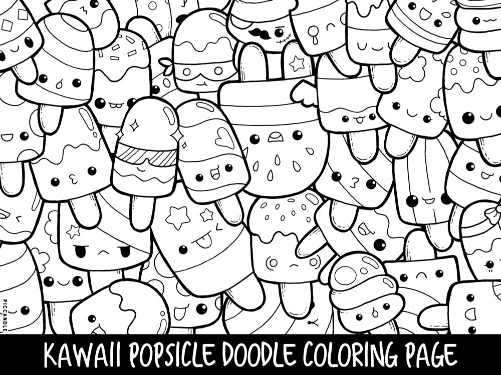 1000x750 Popsicle Doodle Coloring Page Printable Cutekawaii Coloring