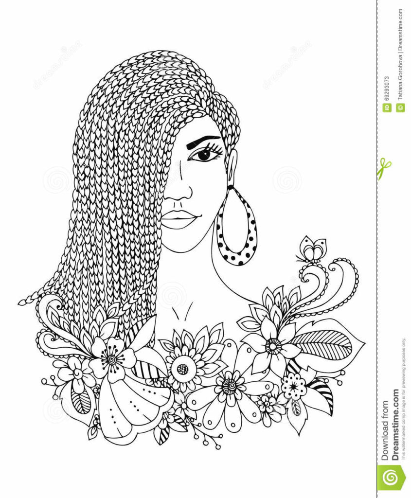845x1024 Vector Illustration Zentangl Portrait African American Woman