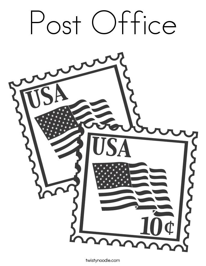 685x886 Post Office Coloring Page