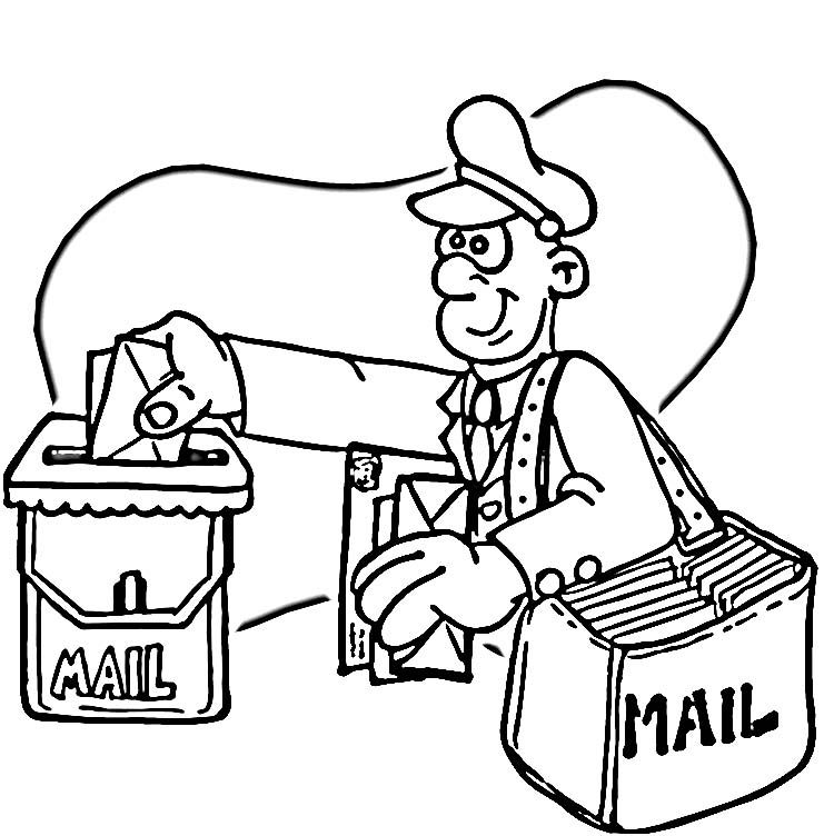 750x752 Post Office Coloring Pages For Kids Brooks Pin
