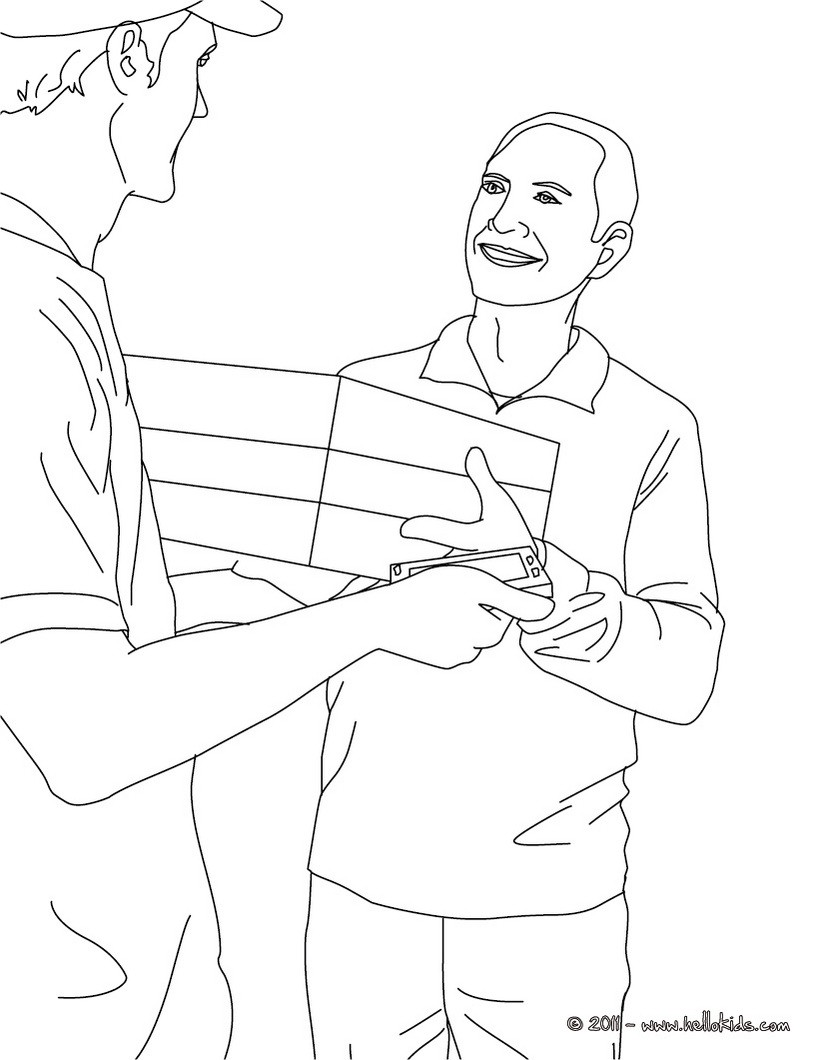 820x1060 Postman In The Parcel Post Office Coloring Pages