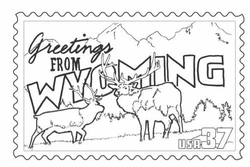 497x332 Wyoming Stamp Coloring Page Classbrain's State Reports