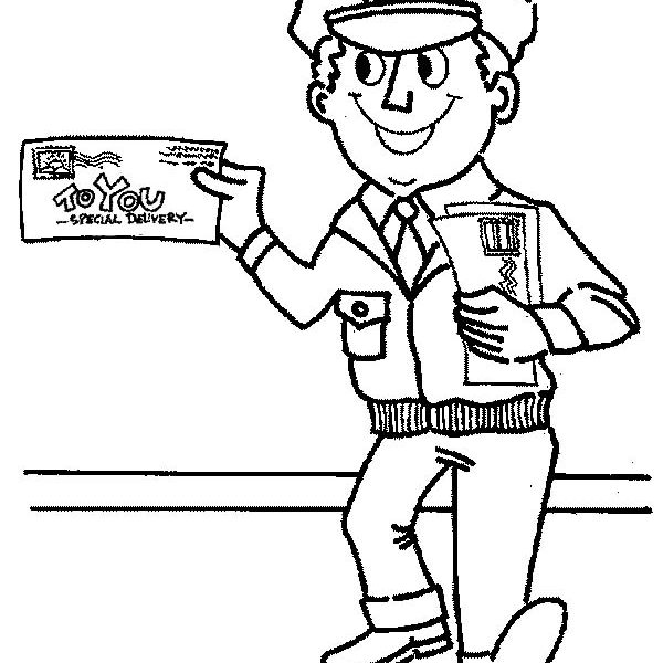 600x600 Community Helpers Coloring Pages Mr Postman Is Smiling