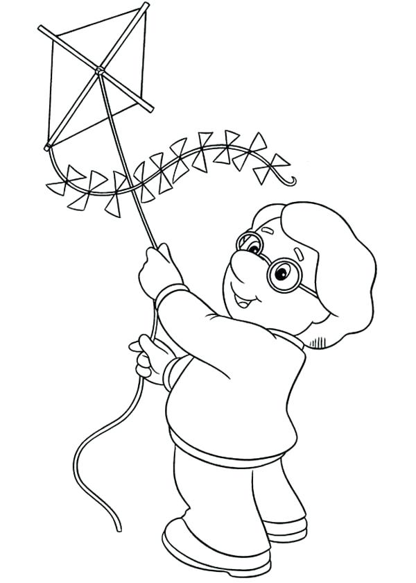 600x840 Kite Coloring Page Charlie Trying To Fly A Kite In Postman Pat