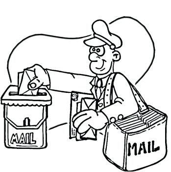 349x350 Mailman Coloring Pages Community Helper Coloring Pages Postman Is