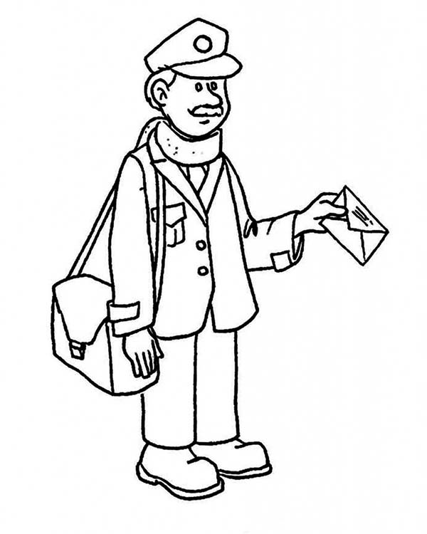 600x750 Mr Postman Delivering Mail In Community Helpers Coloring Page