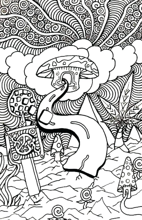 582x900 Trippy Coloring Pages Coloring Pages Mushroom Clouds Trippy Pot
