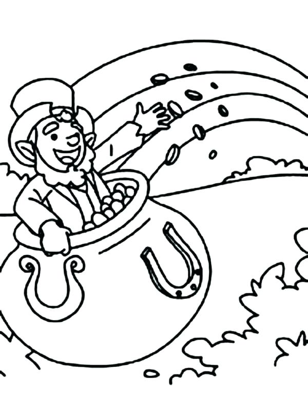 600x811 Pot Of Gold Coloring Page Leprechaun Rainbow Pot Of Gold Coloring