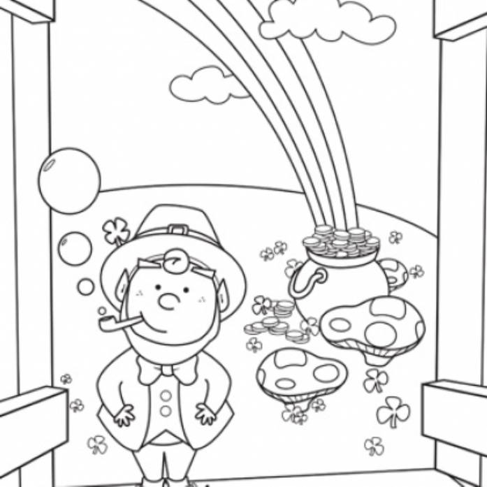 697x697 Rainbow And Pot Of Gold Coloring Pages For Kids Printable
