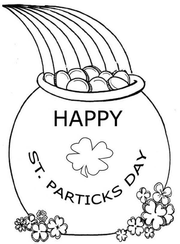 600x813 Celebrating St Patricks Day With A Pot Of Gold Coloring Page