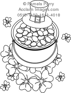 230x300 Clip Art Illustration Of A Pot Of Gold St Patrick's Day Coloring Page