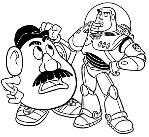 600x554 Mr Potato Head And Buzz In Toy Story Coloring Page