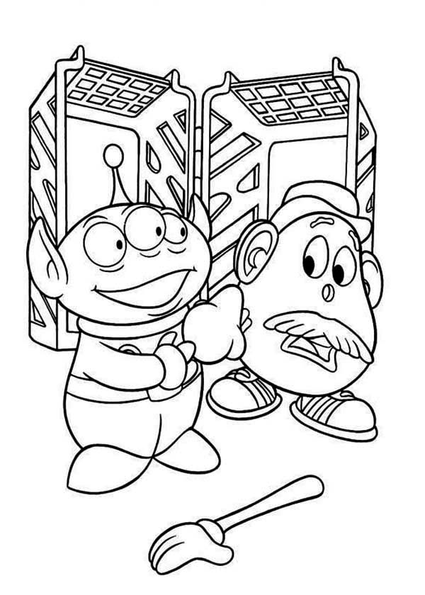 600x840 Little Green Men And Mr Potato Head In Toy Story Coloring Page