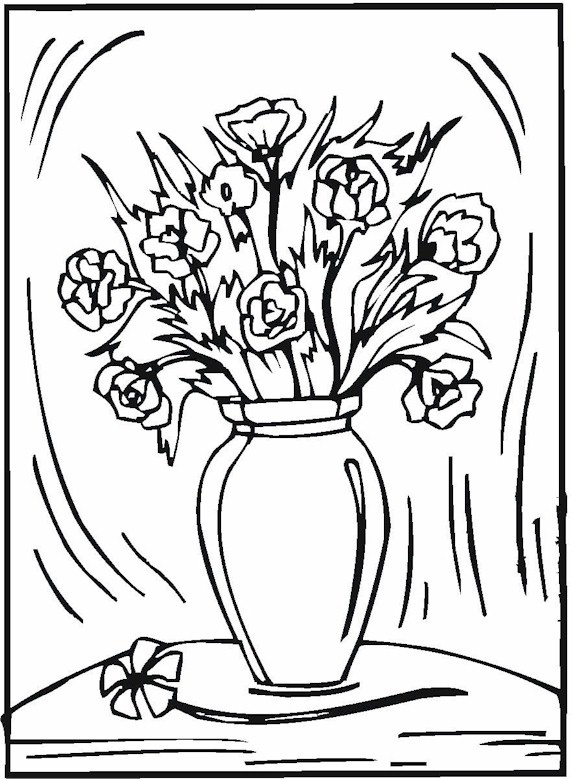573x780 Coloring Pages Flowers In Vase New Vase Pottery Coloring Page