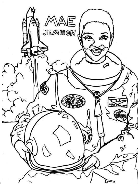 541x720 Mae Jemison Coloring Page