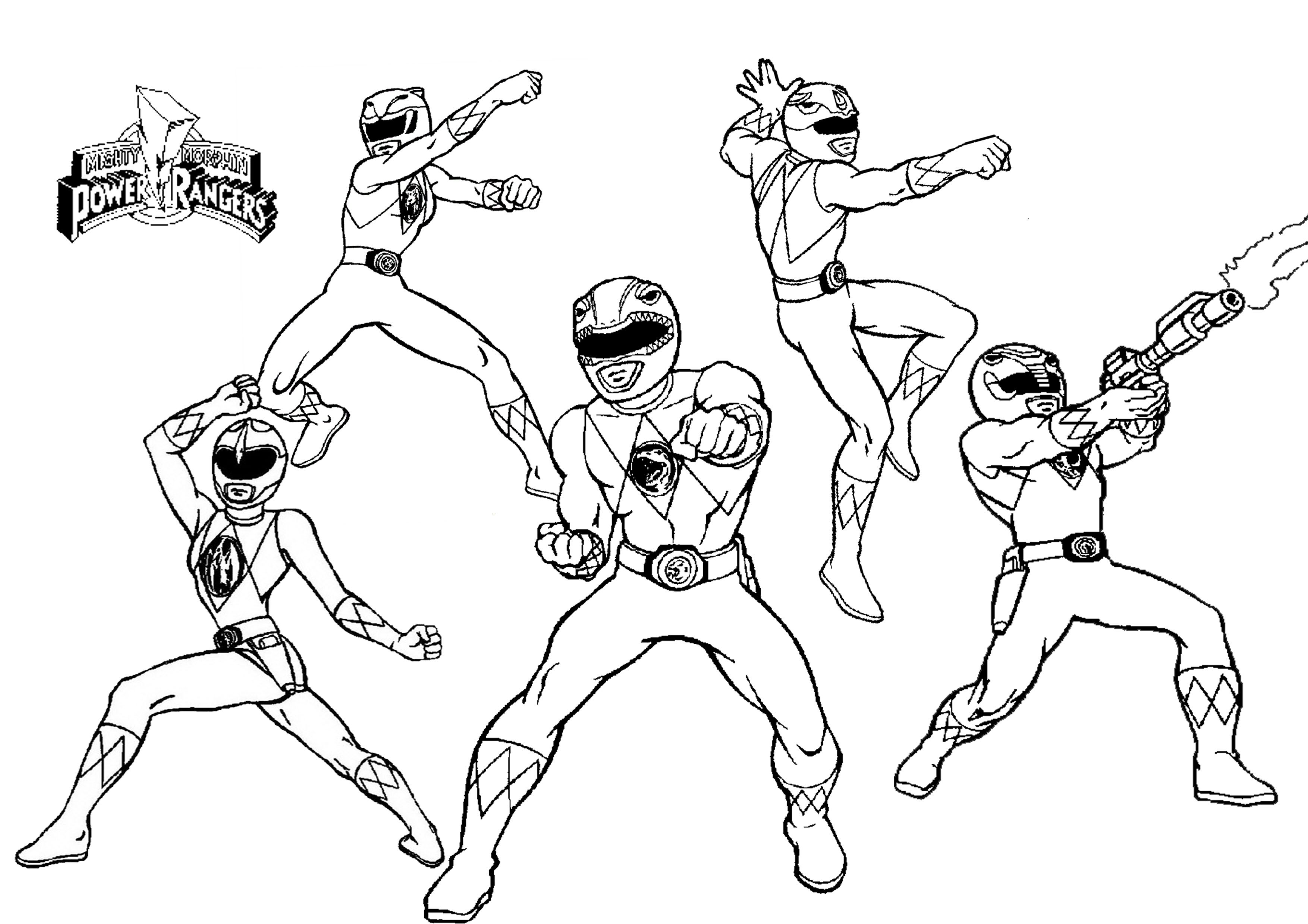3508x2480 Mighty Morphin Power Rangers Coloring Pages With Mighty Morphin